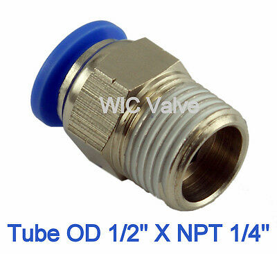 Male Straight Connector Tube OD 1/2 X NPT 1/4 Push In To Connect Fitting 5 Piece