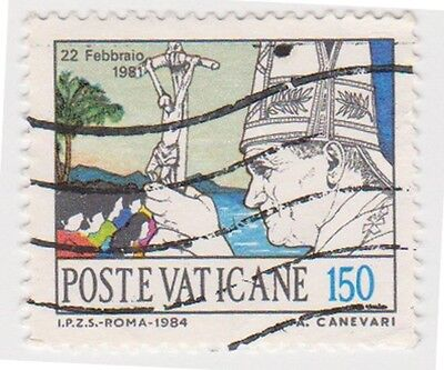 (VA206) 1984 VATICAN 150L Pope & church ow816