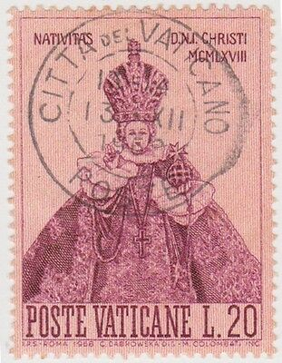 (VA126) 1968 VATICAN L20 purple & red Xmas ow516
