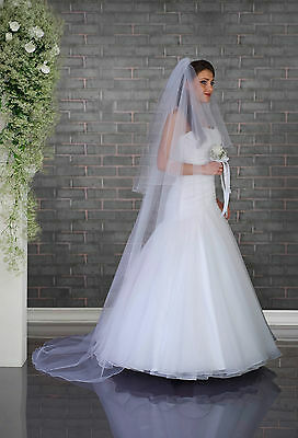 "White/Ivory Wedding Bridal 2 Tier Cathedral Veil 91"" Swarovski Crystals"