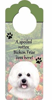 Spoiled Rotten Bichon Frise Lives Here! Wood Door Knob Plaque Puppy Dog Pet Gift
