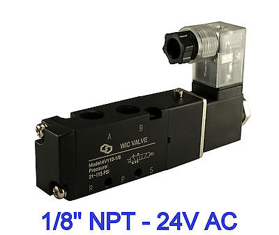 """1/8"""" Inch Pneumatic 4 Way Electric Directional Control Air Solenoid Valve 24V AC"""