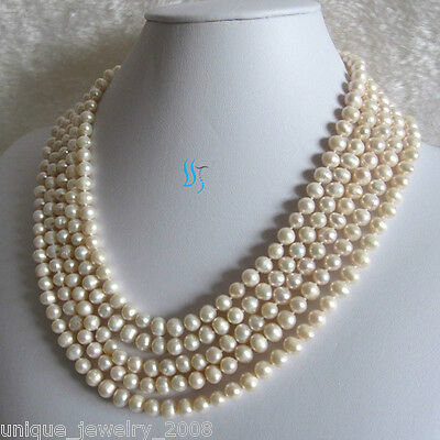 "100"" 5-7mm White Freshwater Pearl Necklace Strands Jewelry"