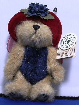 "Boyds Bear Flutter Flowerflit, red hat blue flower  6""  WITH TAGS  -  B-013"