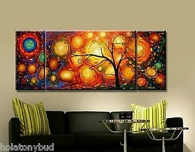MODERN ABSTRACT HUGE WALL ART OIL PAINTING:(no frame): colorful tree