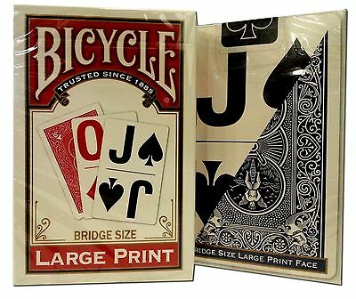 Lot of 2 Bicycle® Large Print Bridge Playing Cards Deck Game Red & Blue