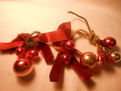 Vintage RED Glass Bead Christmas Ornaments Tied with Old Satin Bows~Set of 3