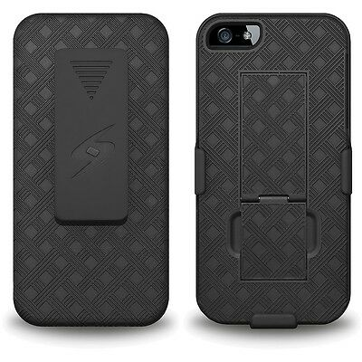AMZER OEM BLACK RUBBERIZED CASE + STAND + BELT CLIP HOLSTER FOR APPLE iPHONE 5S