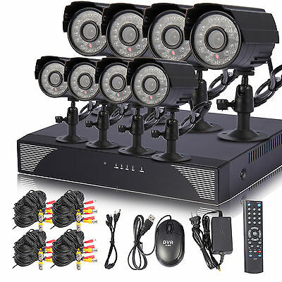 Standalone 8 Ch Channel CCTV DVR Security Home Video Color Camera system US SHIP