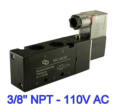 3/8 Inch Pneumatic 4 Way Electric Directional Control Solenoid Air Valve 110V AC