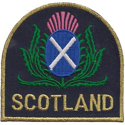 Scotland Scottish Thistle and Saltire Flag Embroidered Patch Badge