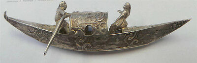 Antique MINIATURE SILVER GONDOLA Marked 825 with a Half Moon and Crown.