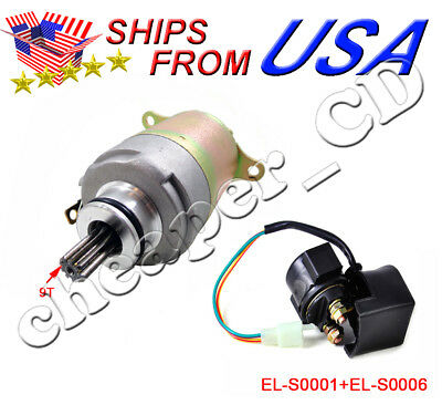 Starter Motor and Relay FOR GY6 150cc 157QMI 157QMJ 150 Scooter GoKart Moped ATV