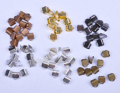 100pcs Fold Over Crimp cord End Beads Tips Jewelry Findings 6x8mm