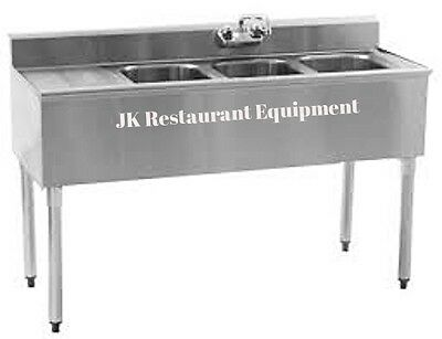 """Commercial Stainles Steel Under Bar Sink 48"""" Three Compartment Left Drainboard"""