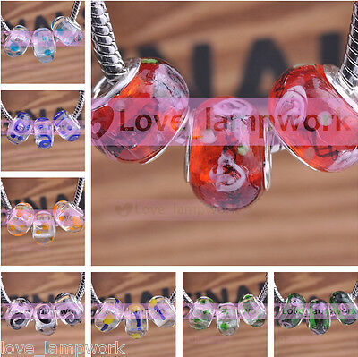 10pcs New Colorful Flower Lampwork Glass Round Charm Murano Loose Big Hole Beads