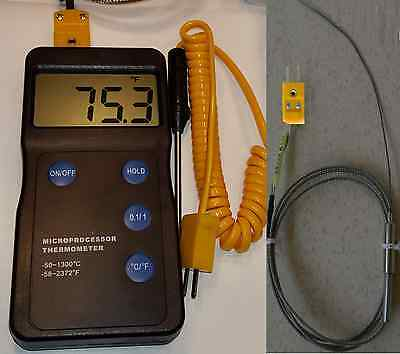 Pyrometer F,C Thermometer Thermocouple Test Lead Melting Pot Soldiers Mold Cast
