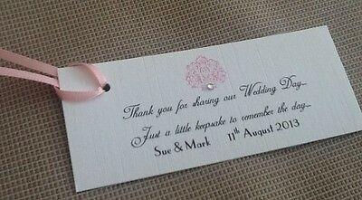 10 x Handmade Personalised Vintage Style Favour Tags Wedding with satin ribbon