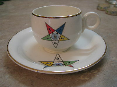 ORDER OF THE EASTERN STAR OES Free Mason CUP & SAUCER SET Sanders VTG MASONIC
