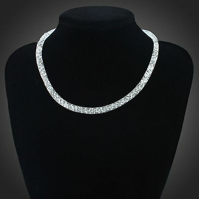 18k White Gold  Plated  Clear Zircons one Chain Necklace Wedding Jewelry