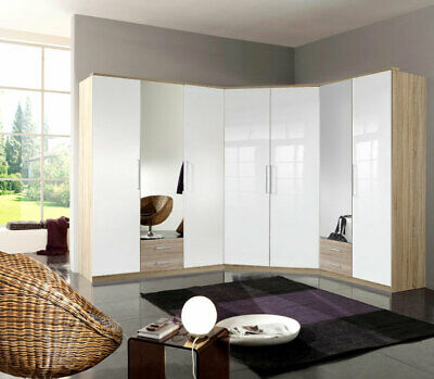 wow eckkleiderschrank hochglanz weiss eiche schlafzimmerschrank kleiderschrank eur 719 10. Black Bedroom Furniture Sets. Home Design Ideas