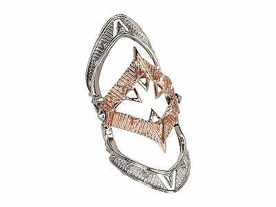 House Of Harlow Rose Gold Silver Plated Jaws Moroccan Goum Armour Ring 6 7 8