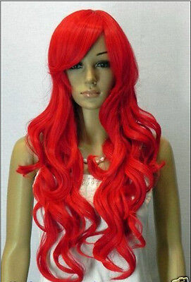 Noble bright red long curly women's wigs+hairnet