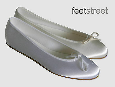 Ivory Or White Satin Bridesmaid Flower Girl Communion Shoes. Childs 8 ~ Adult 8