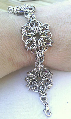"""Stainless Steel 4 Celtic Star and Byzantine Chain Maille Bracelet  """"Handmade"""""""