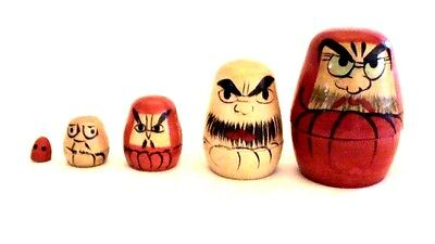 Mini  Wooden Nesting Doll Set of 5- Angry Man theme- hand painted/ carved