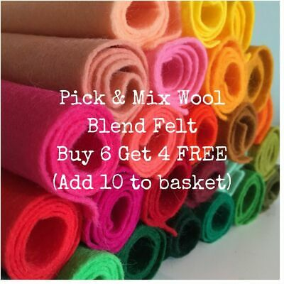 """Wool Mix Felt Fabric 22cm/9"""" Square - Huge Choice of Colours *Choose 10 for £6*"""