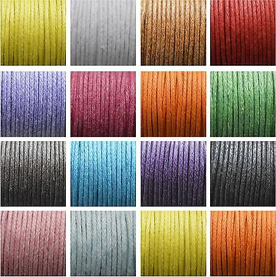 10 Metres Waxed Cotton Cord 1mm Jewellery Making String Thread Findings Crafts