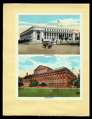 """Antique 1920 """"city Post Office And Pension Office, Washington D.c."""" Litho Print"""