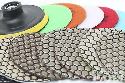 Diamond Polishing Pads 4 inch Dry 15 Piece Set&Backer Pad Granite Concrete Stone