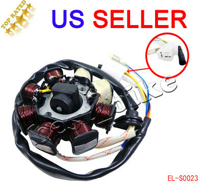 GY6 50cc 150cc Magneto 8-coil Stator ATV Moped Go Kart Scooter JCL Taotao 4 WIRE