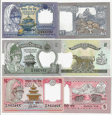 NEPAL 1 2 5 RUPEES SAME SIGN 13 UNC P 37 29b 30a