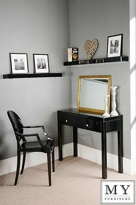 Chelsea Black Glass high gloss Mirrored furniture Dressing Console table 4Legs