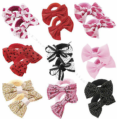2pc GIRLS HAIR BOWS HAIR BOBBLES HAIR ELASTICS PONIOS BANDS MANY DESIGNS COLOURS