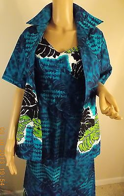 60s-70s vin Liberty  House HAWAII sundress + jacket royal blue blk white grn 10