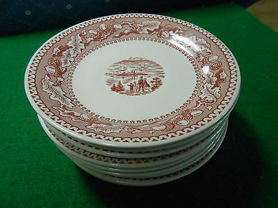 """Vintage JOHNSON BROS. China HISTORIC AMERICA """"Pink""""... 9 Saucers ...NO Cups"""
