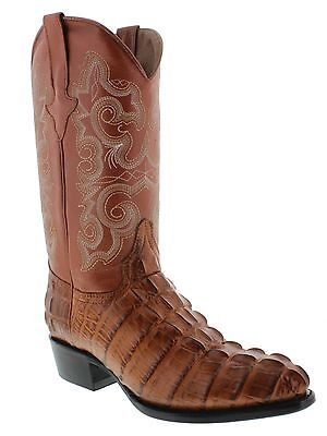 Men's crocodile alligator tail cowboy boots brown leather exotic round toe new
