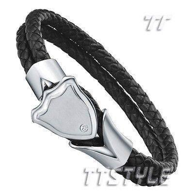 TT Black Leather 316L Stainless Steel Shield Bangle (BR103)