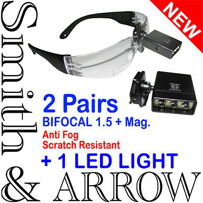 2x BIFOCAL SAFETY GLASSES +1.5 WITH LIGHT MAGNIFIER LENS EYE PROTECTION EYEWEAR