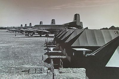 """Vintage 1956 McChord US Air Force Base, Six C-124's on Field B&W, 20""""x24"""" RARE"""