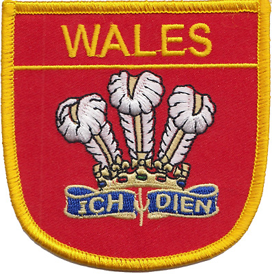 Wales Welsh Dragon Ich Dien Prince of Wales Feather Flag Embroidered Patch Badge