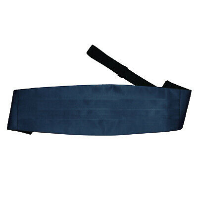 Mens Cummerbund Satin Plain Navy Blue Wedding Adjustable Accessories by DQT