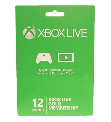 Xbox 360 / XBOX ONE LIVE 12 Month Gold Membership Card Subscription NEW!