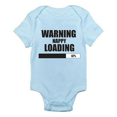 WARNING NAPPY LOADING - Poop / Diaper / Fun / Novelty Themed Baby Grow/Suit