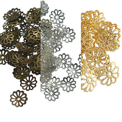 150 Bead Caps 9mm Filigree Flower Spacer Findings Silver or Gold Plated, Bronze