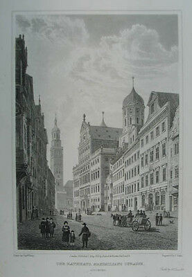 "Augsburg Stahlstich aus Batty ""German Scenery"" 1823"